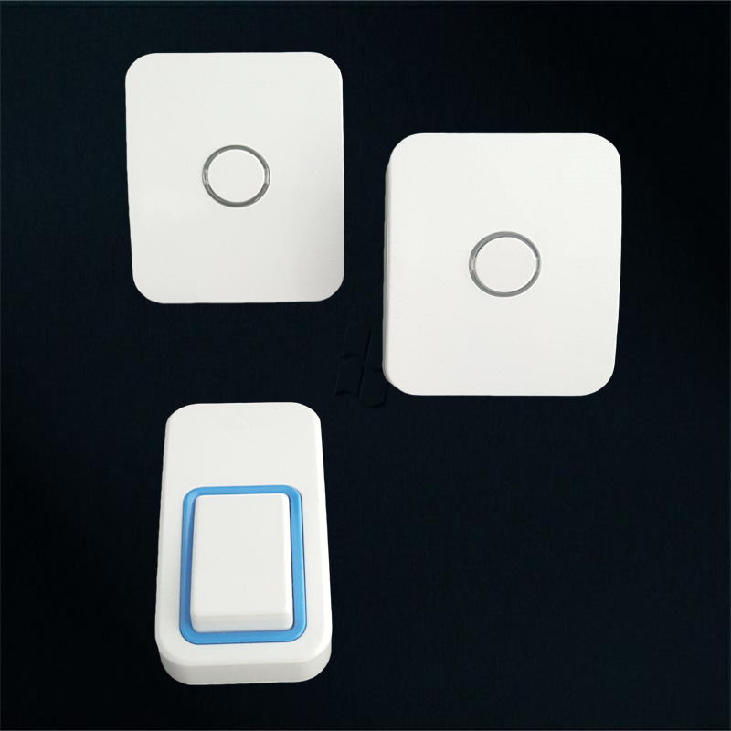 waterproof no battery wireless doorbell with 25 tones 2receivers+1button that Best for many rooms.remote control elderly pager wireless pager system 433 92mhz wireless restaurant table buzzer with monitor and watch receiver 3 display 42 call button