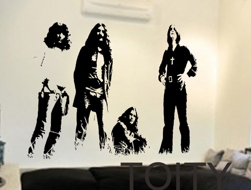 Black sabbath wall stickers english rock band vinyl decals heavy metal art decor dorm home room polka tulk blues music mural in wall stickers from home