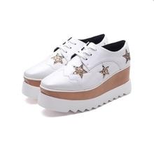 free shipping 2017new Spring women shoes platform microfiber PU fashion flats star height increasing women fashion british style