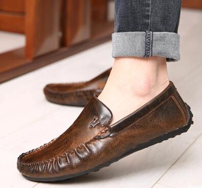 Homens Preguiçosos Mocassins Condução Sapatos Homens Apartamentos Sapato 2016 Moda Couro Genuíno casuais Sapatos Baixos Masculinos Sapatos de Barco Sapato Marrom 8