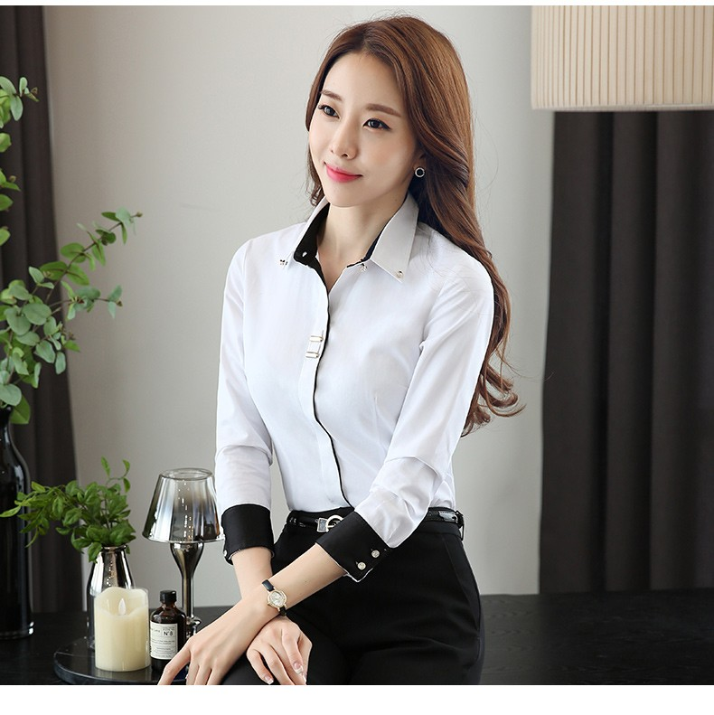 HTB1asEyLXXXXXXgXpXXq6xXFXXXr - Long sleeve shirt black white slim cotton blouse office ladies