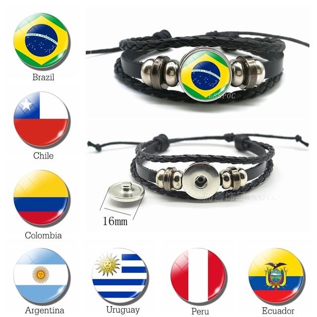 Горячий флаг стран браслет в Бразилии, Чили Флаг Аргентины талисманы кожаный браслет Мужская мода браслет в подарок для мужчин