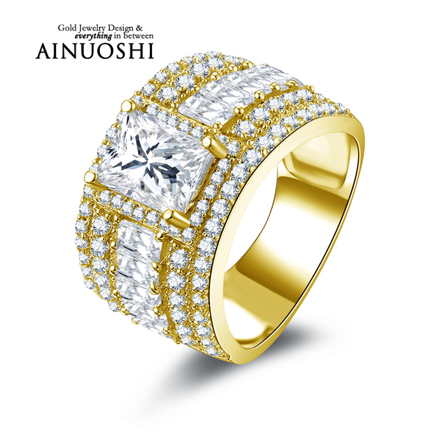 AINUOSHI 10k Solid Yellow Gold Ring Jewelry New 1.5 ct Rectangle Cut Simulated Diamond Wide Wedding Rings Women Brilliant Gift
