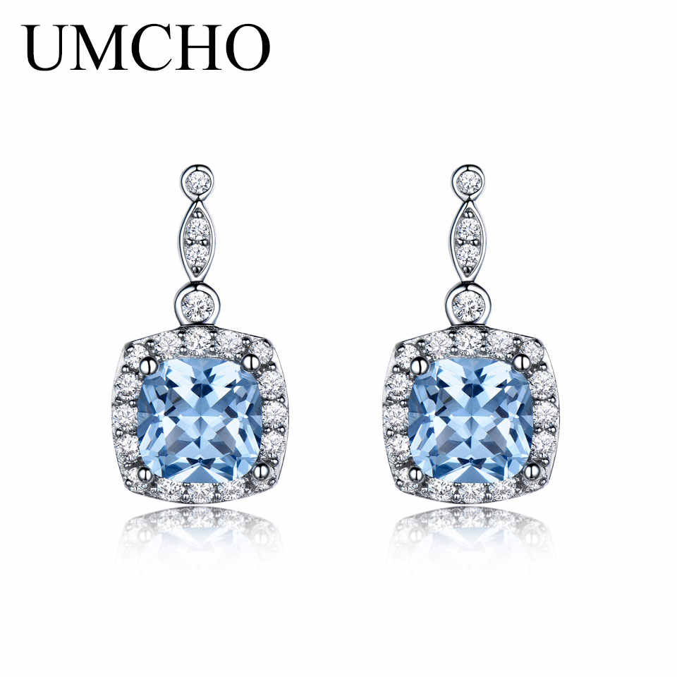 17b3b976c ... UMCHO Genuine 925 Sterling Silver Earrings Hot Sell Created Nano Sky Blue  Topaz Earrings Engagement Gift ...