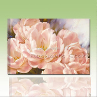 Hand Painted Pink Blooming Peony Oil Painting On Canvas
