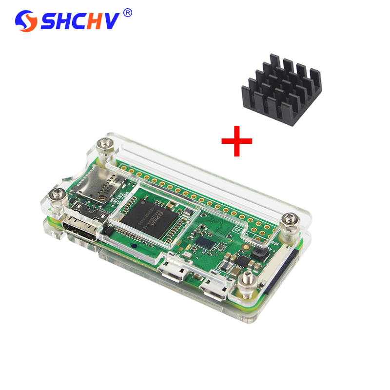 Latest Raspberry Pi Zero W Acrylic Case + Aluminum Heat Sink for RPI Zero Box Cover Shell Enclosure Cases also for RPI Zero V1.3 offical raspberry pi zero w case abs box cover shell rpi zero enclosure cases box for raspberry pi zero w