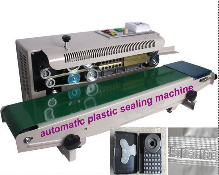 High quality 220V FR-900 Continuous Automatic Plastic Bag Sealing Machine aluminum foil package machine, food bag sealer fr 900l vertical heat sealer sealing machine automatic continuous plastic bag sealing machine steel wheel print
