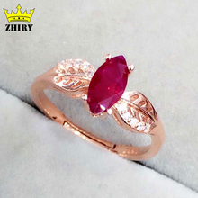 Natural Ruby gem stone ring Genuine 925 sterling silver woman jewelry gold plated wedding rings noble royal