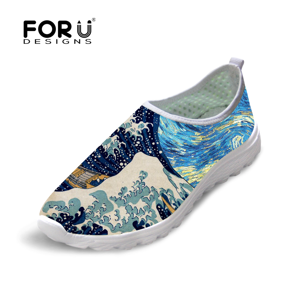 FORUDESIGNS 3D Painting Printed Women Summer Mesh Shoes Flats Woman Breathable Casual Shoes for Ladies Fashion Girls Loafers forudesigns women casual sneaker cartoon cute nurse printed flats fashion women s summer comfortable breathable girls flat shoes