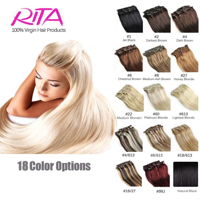 16 Colores Disponibles Pinza de Pelo Brasileño En Extensiones de Cabello Humano 7 unids Set completo de La Cabeza Pinzas Para el Cabello de Rita Aplique Tic Tac Cabelo humano