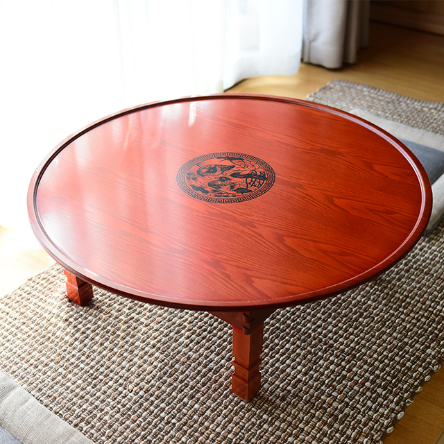 60 100cm round korean coffee table folding leg asia antique furniture floor table for dinning - Antique Wood Coffee Tables