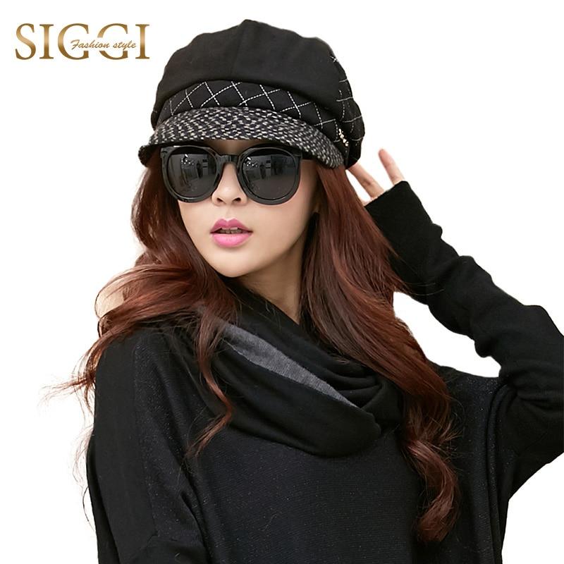 SIGGI Women Wool Newsboy Cap Winter Hat Painter Patchwork Visor Beret casquette muts czapka cappelli Cleareance Wholesale 68107