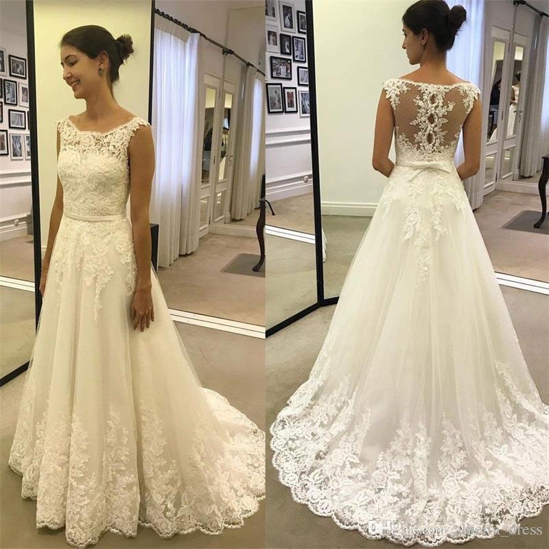 7acb49fc7b082 新ファロングウェディングドレス 2019 スクープネックキャップスリーブコートトレインアップリケチュール A ラインの花嫁ドレス Vestido デ  noiva ...