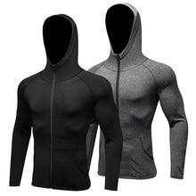 Long Sleeve Sport Shirt Men Hat+Zipper Women's Running T-shirts Gym Sports Clothing