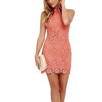 Plus Size Women Elegant Wedding Night Club Halter Neck Sleeveless Sheath Bodycon Lace Dress Short