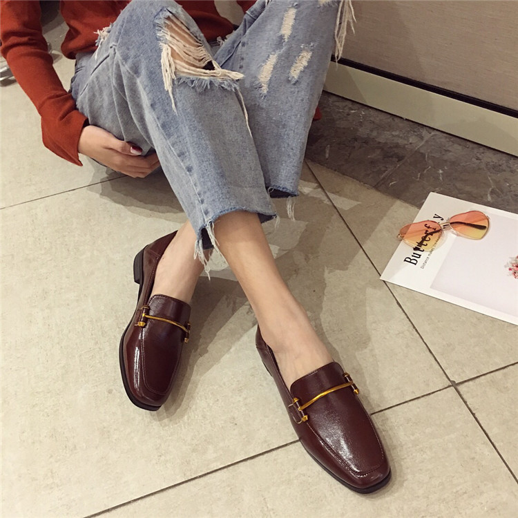 Fashion shoes for women 2018 new soft bottom British shoes woman square head single shoes female thick with flat shoes loafers 72