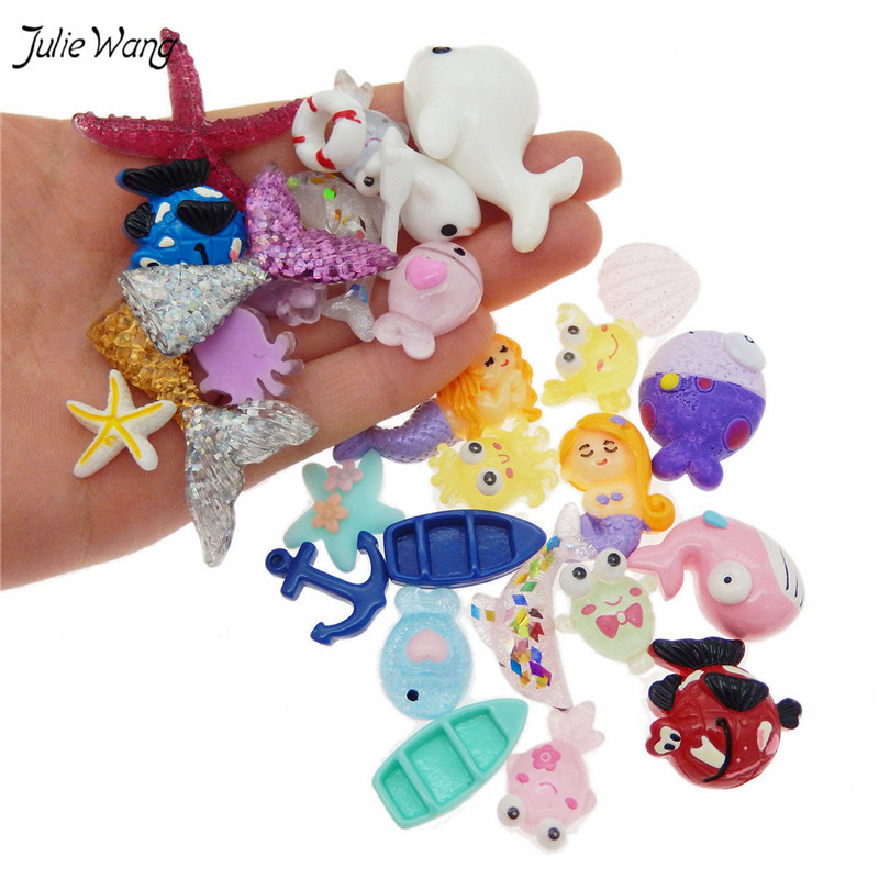 Julie Wang 30pcs/lot Cute Mixed Sea Theme Resin Charms Starfish Ocean Animal Cartoon Pendants For Jewelry Making Home Decor(China)