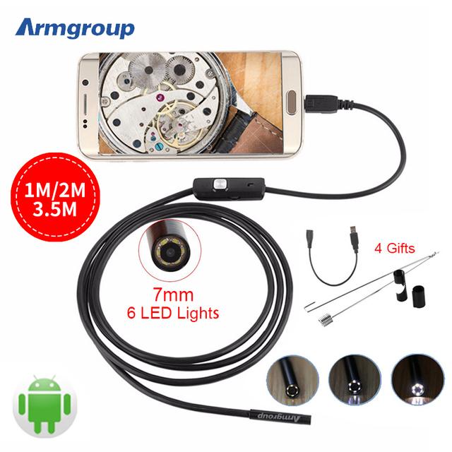 Endoscopio 7mm 1 M 2 M 3.5 M USB Android Endoscopio Cámara Inspección de Tubos Serpiente Cámara IP67 Mini Cámara OTG Boroscopio Endoscoop