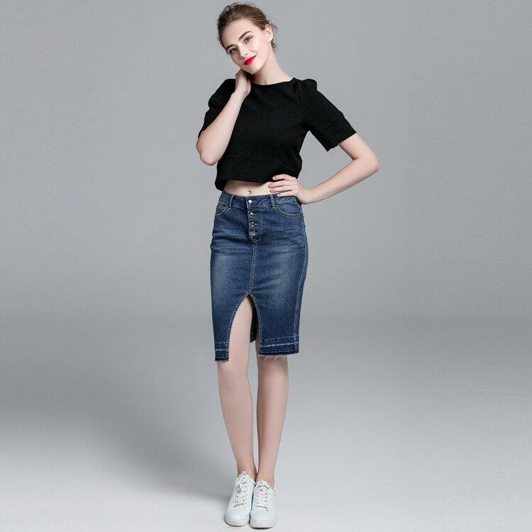 Genou Belle Qualité Scission Bud Dames Denim Style Nouvelles Blue Femmes Américain Haute Européen Mode Courte 2018 Jupe De longueur Et R1qnZ