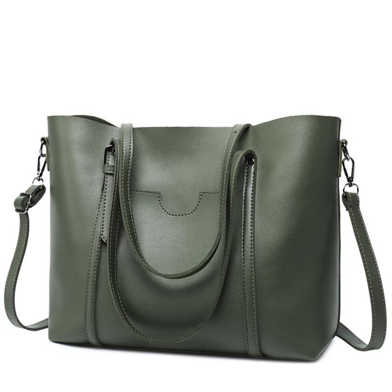LEFTSIDE Brand New 2018 Women Handbags Big Pu Leather High Quality Female Bag Designer Simple Style Crossbody Bags Elegant Green