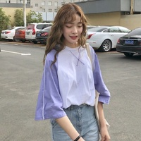 Женские футболки в стиле пэчворк с разноцветными полными рукавами, свободная футболка для женщин s Harajuku, летняя футболка ulzzang, уличная одежд...