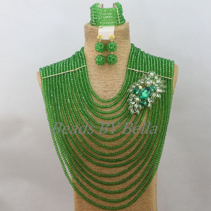 Chunky Layered Green Crystal Beads Jewellery Nigerian Wedding Women Necklace African Fashion Jewelry Set Free Shipping ABF705 green pendant double layered necklace