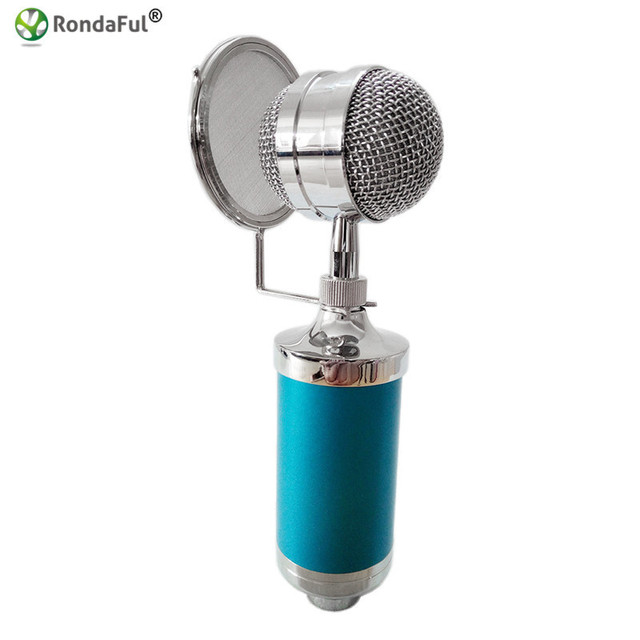 Professional Condenser Sound Recording Microphone with Shock Mount+Mic+Wind Screen Filter Shied Braodcasting KTV Karaoke Wired