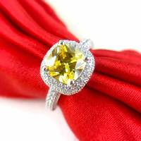 yellow 2ct 925 silver wedding ring man made diamond lover letter customize rings bands (JSA)