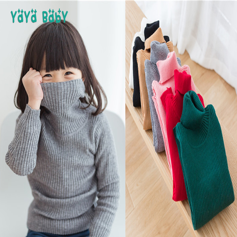 Turtleneck Kids Sweaters 2018 New Casual Solid Boys Girls Sweater 1 2 3 4 5 6 7 8 Year Children Autumn Winter Tops Clothing autumn winter children turtleneck kids sweaters 10 solid colors girls sweater boys pullover basic shirt 2 10 years