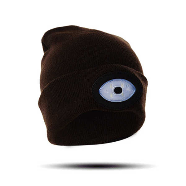 High Powered LED Light Unisex Beanie Hat with USB Rechargeable for Outdoor Camping Hiking GDD99