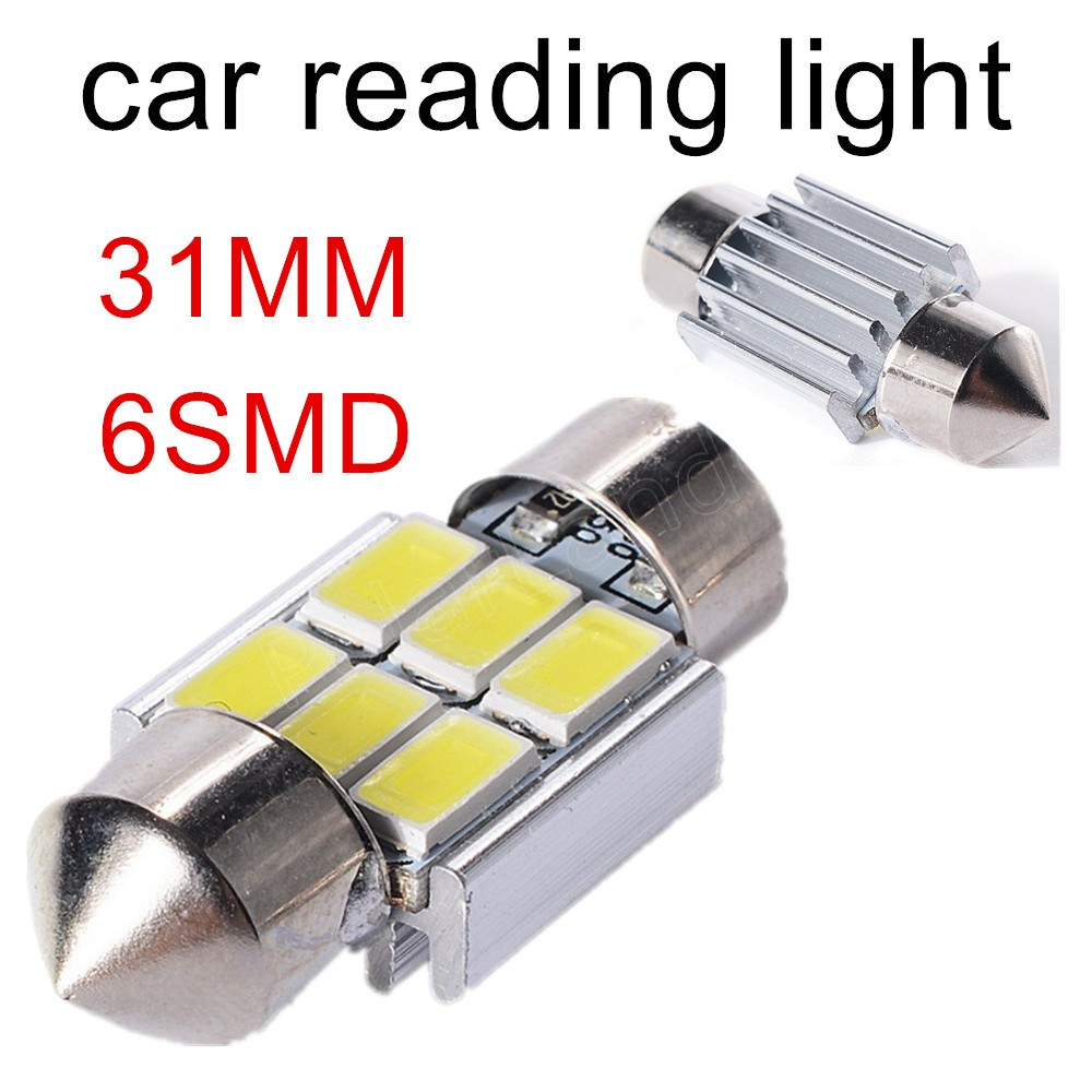 10pcs Car Interior Light 31mm LED Bulbs C5W Festoon Vanity Mirror Dome Reading Door Number Light 6SMD 5630 12V best price sale