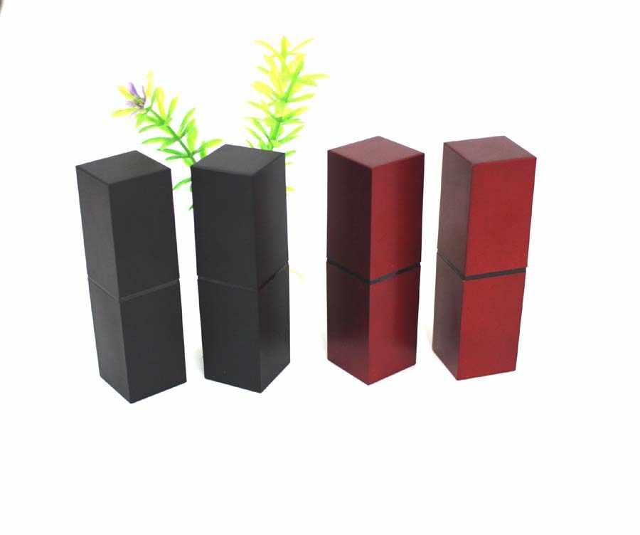 Persegi plastik kosong lipstik tabung 12.1mm, hitam/merah persegi lip rouge kasus
