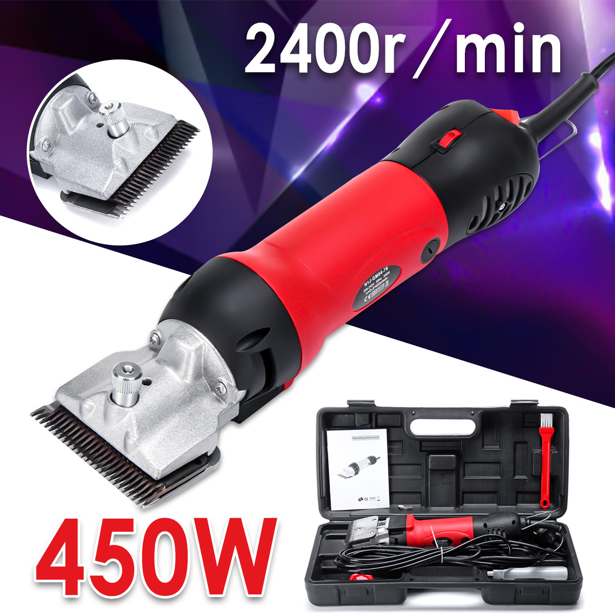 110-240V 450W 2400r/m Professional Electric Animal Horse Camel Dog Sheep Shearing Clipper Pet Hair Trimmer Hair Shearing Machine new 680w sheep wool clipper electric sheep goats shearing clipper shears 1 set 13 straight tooth blade comb