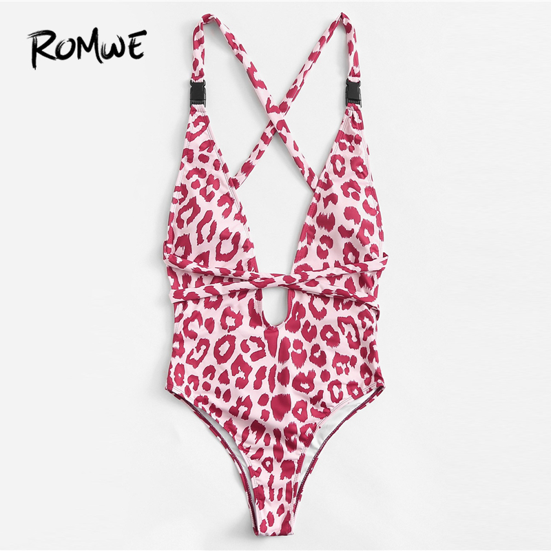 Sports & Entertainment Symbol Of The Brand Romwe Sport Leopard Print Criss Cross Back Women Sexy Deep V Neck One Pieces Swimsuit 2019 Summer Beach Chest Pad Swimming Wear Bright And Translucent In Appearance