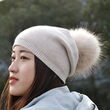 Women Real Raccoon Fur Pompom Hat Female Winter Spring Wool Beanie Cap Natural Fur Pom Pom Hat Cashmere Knit Bobble Beanie Hat