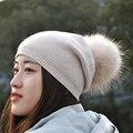 Señoras de Las Mujeres Invierno Primavera Real Fur Pompon Sombrero Gorro de Lana Femenina Cap Pom Pom Bobble Sombrero Sombrero de Punto de Cachemir de Piel de Piel Natural