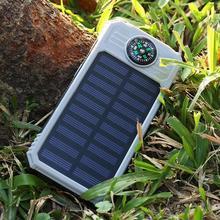 30000mAh Solar Power Bank Portable Compass Flashlight Solar Power Bank USB External Battery Outdoor Emergency Charger For iPhone
