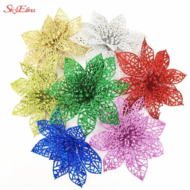 1X13CM Artificial Hollow Glitter Christmas Flower Xmas Tree Wedding Party Decor
