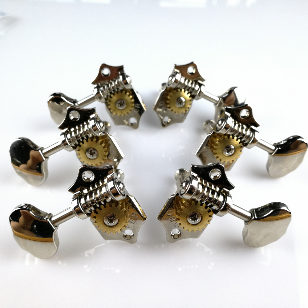 Original Grover Vintage Guitar Machine Heads Accordatori Silver Tuning Pegs (senza confezione originale)