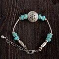 2016 nova Natural pedras de turquesa pulseira de prata pulseiras e pulseiras pulseiras homens mulheres Unisex