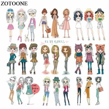 ZOTOONE Lovely Girls Patches Iron on Transfers for Clothing Applique Heat Transfer Vinyl Stickers Clothes DIY Thermal Press