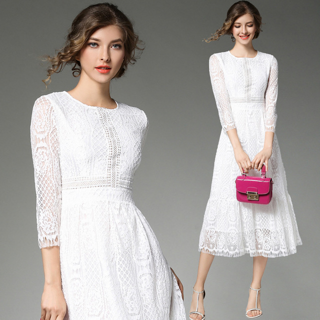 Fall White Lace Bodycon Elegant Dress Women Autumn Slim ...