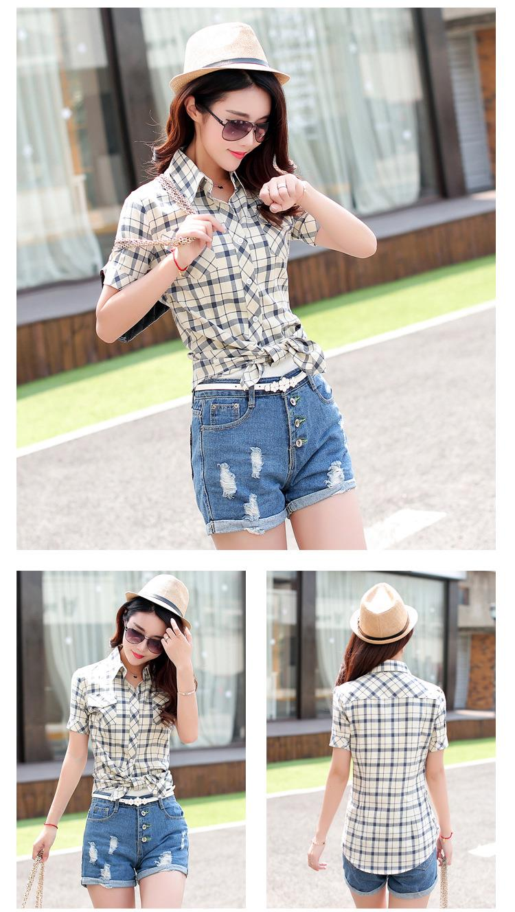 HTB1asHQJFXXXXXaXVXXq6xXFXXXh - New 2017 Summer Style Plaid Print Short Sleeve Shirts Women