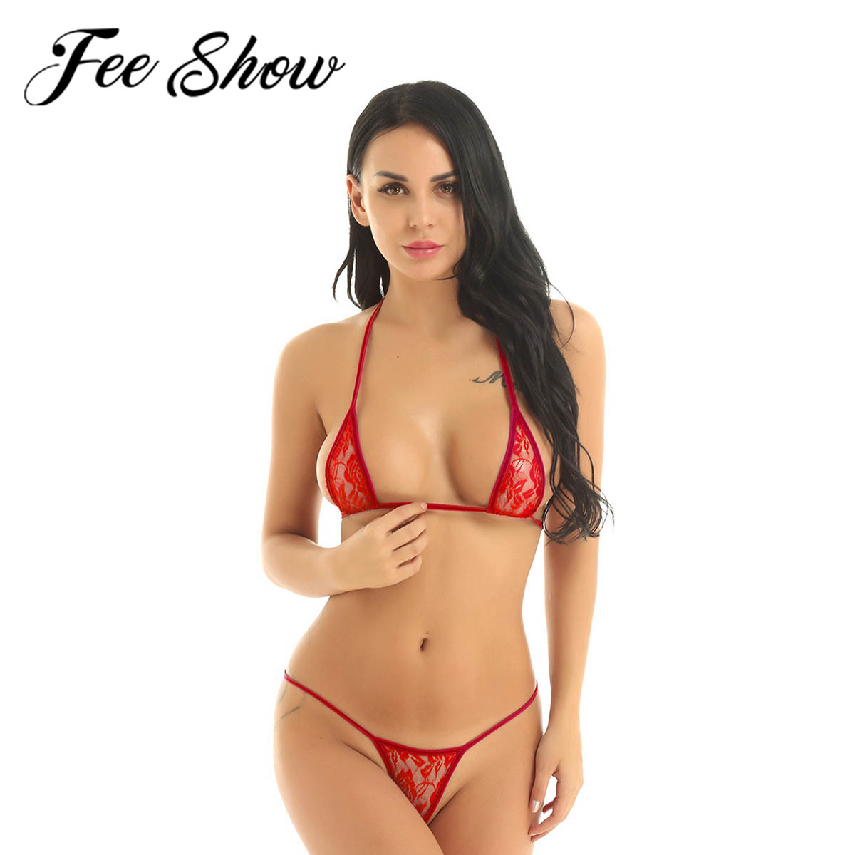 Sexy Female Erotic Minimal Mini Micro Bikini Swimsuit Lingerie Swimwear Beachwear Perspective Bra Top & G-String Brief Underwear