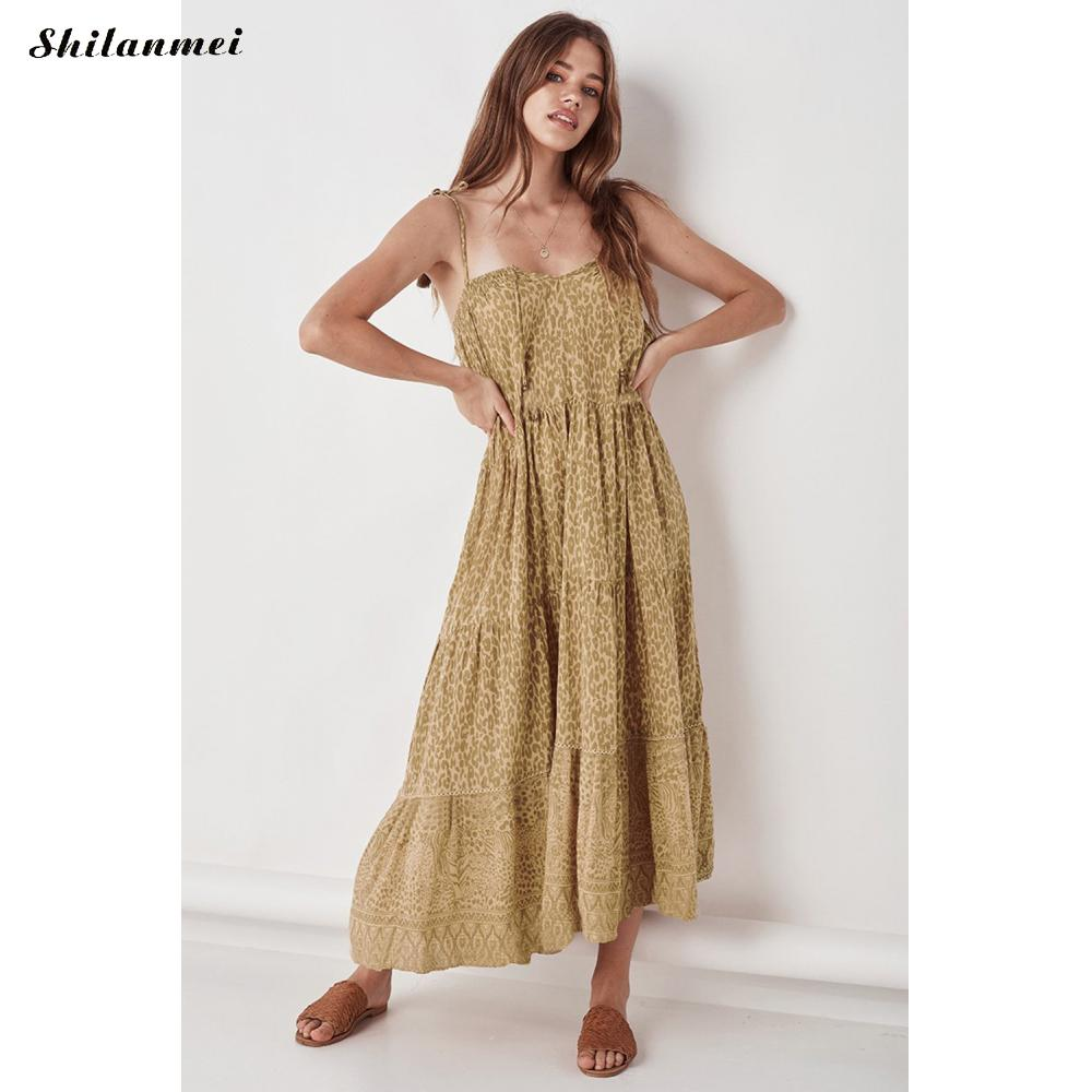 2019 Vintage Chiffon Women Summer Dress Sexy Off Shoulder Backless Yellow Leopard Printed Long Dress Spaghetti Strap Sundress