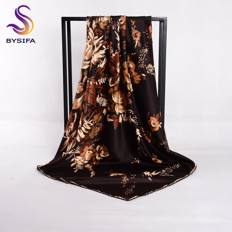 [BYSIFA] Coffee Gold Silk Scarf Shawl Women Luxury Gold Stamp Satin Large Square Scarves Rich Flowers Design Muslim Head Scarf