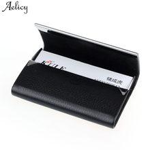 Aelicy, большая вместительность, деловое имя, держатель для карт, кредитный держатель для карт, модный унисекс из искусственной кожи, однотонный чехол для визиток, металлический кошелек