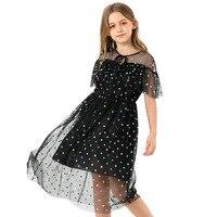2019 Children's Dress Black Summer Short sleeved Princess Dresses Mesh Cute Chiffon Dot Kids Dress for Teen Girls Hollow Out