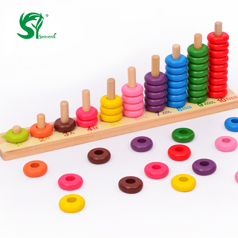 купить Kids toys Montessori 10 Level Clouds Computation Beads Wood Math Toy Educational Baby Toys Give your child a birthday present недорого