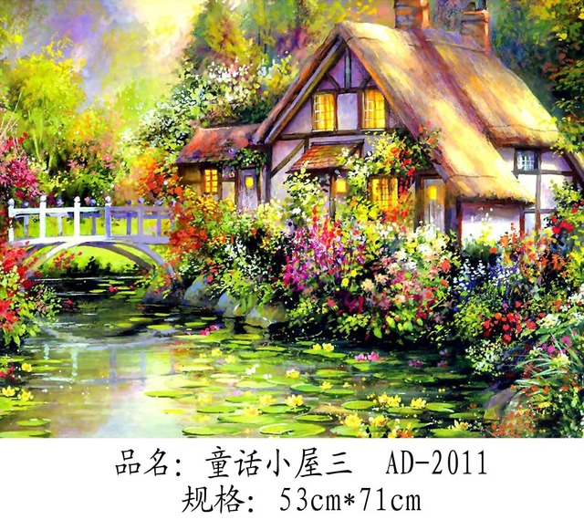 THE HUT IN THE GARDEN \ FULL ROUND DIAMOND PICTURE \ HALL DECORATION \ Gift  \